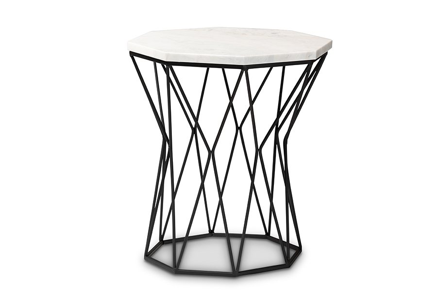 Baxton Studio Venedict Modern and Contemporary Black Metal End Table with Marble Tabletop