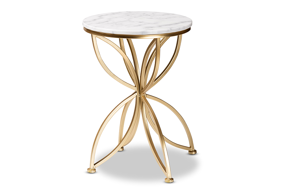 Baxton Studio Jaclyn Modern and Contemporary Gold Finished Metal End Table with Marble Tabletop