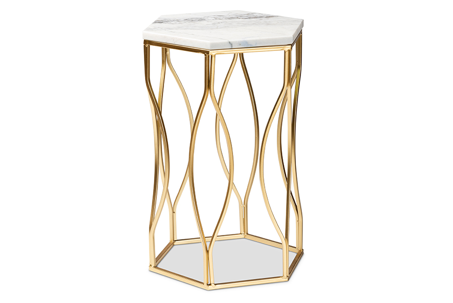 Baxton Studio Kalena Modern and Contemporary Gold Metal End Table with Marble Tabletop