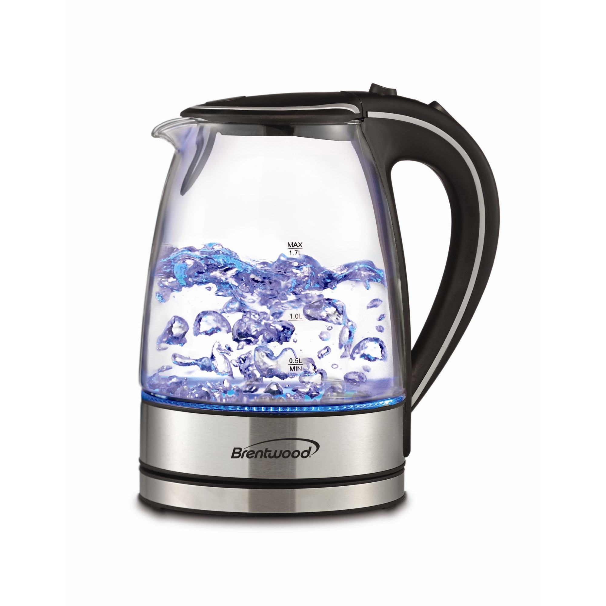 Brentwood 1.7L Tempered Glass Tea Kettle - Black