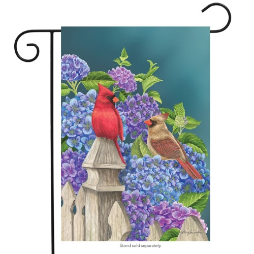 Cardinals and Hydrangeas Garden Flag
