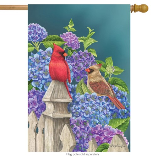 Cardinals and Hydrangeas House Flag
