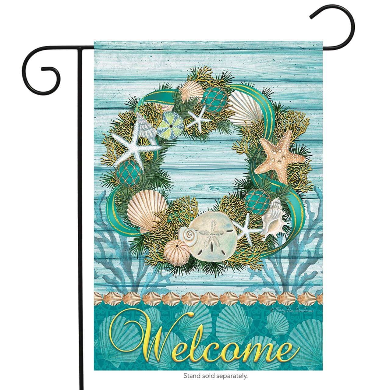 Coastal Wreath Garden Flag