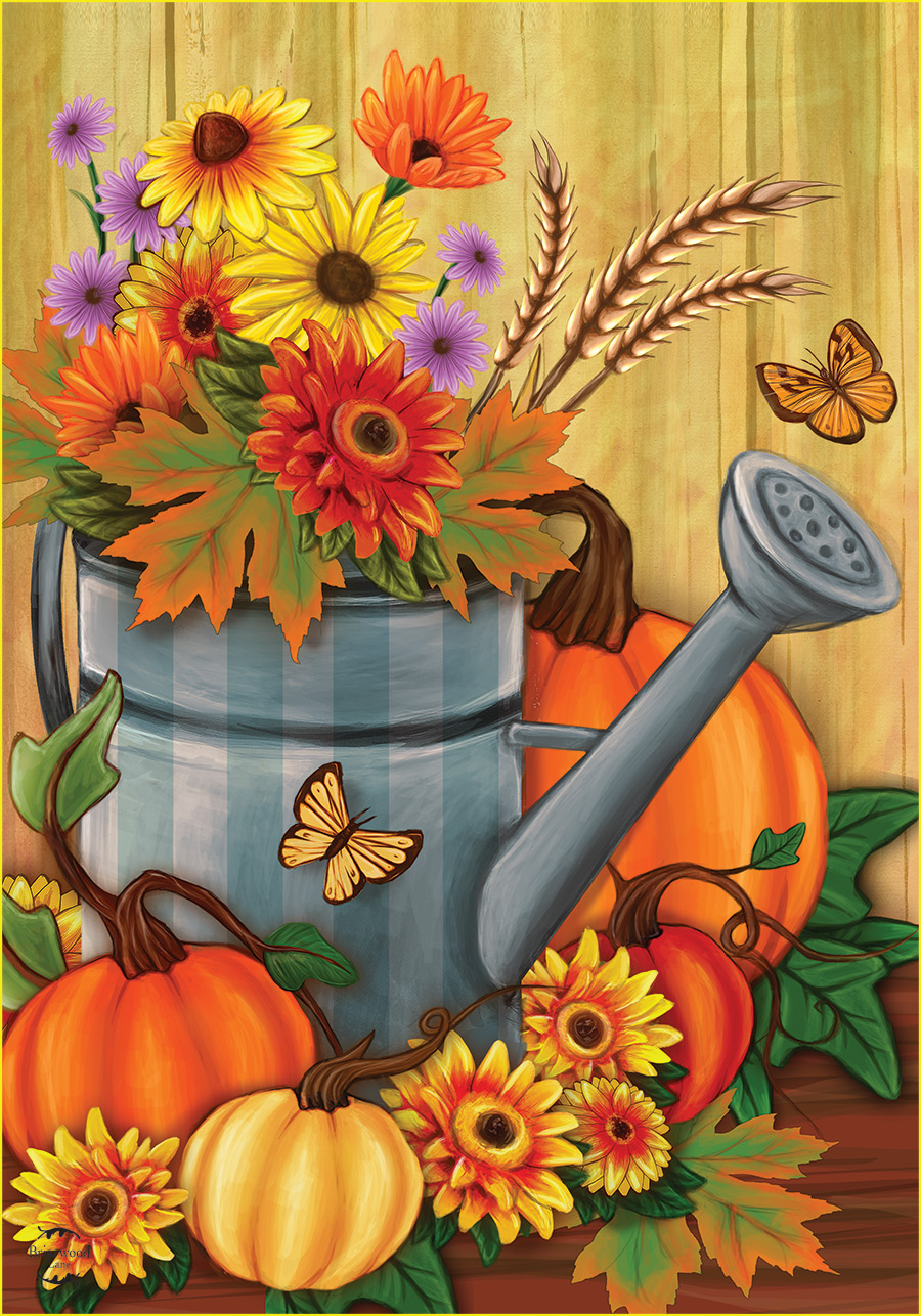 Fall Watering Can House Flag