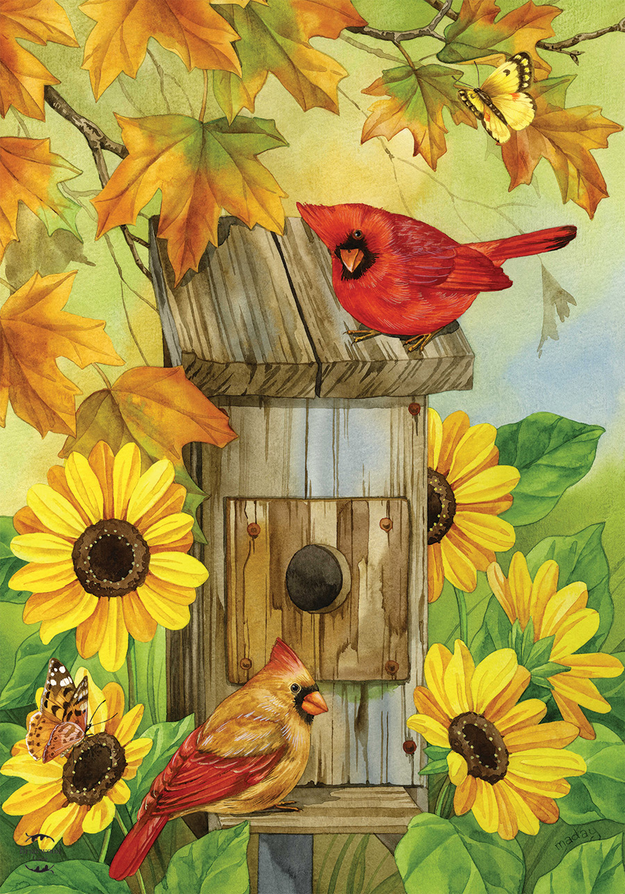 Cardinals and Sunflowers House Flag