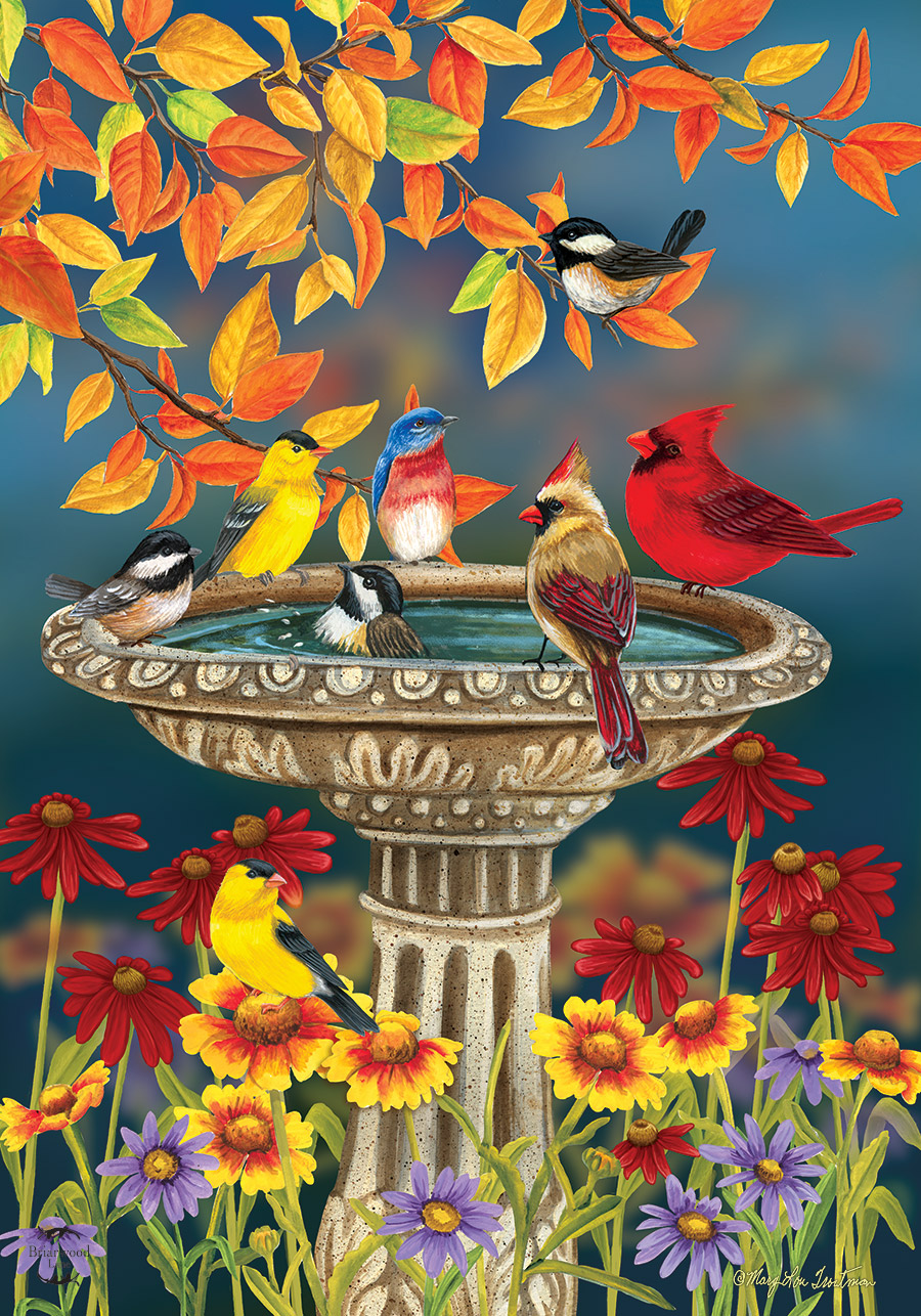 Fall Birdbath House Flag