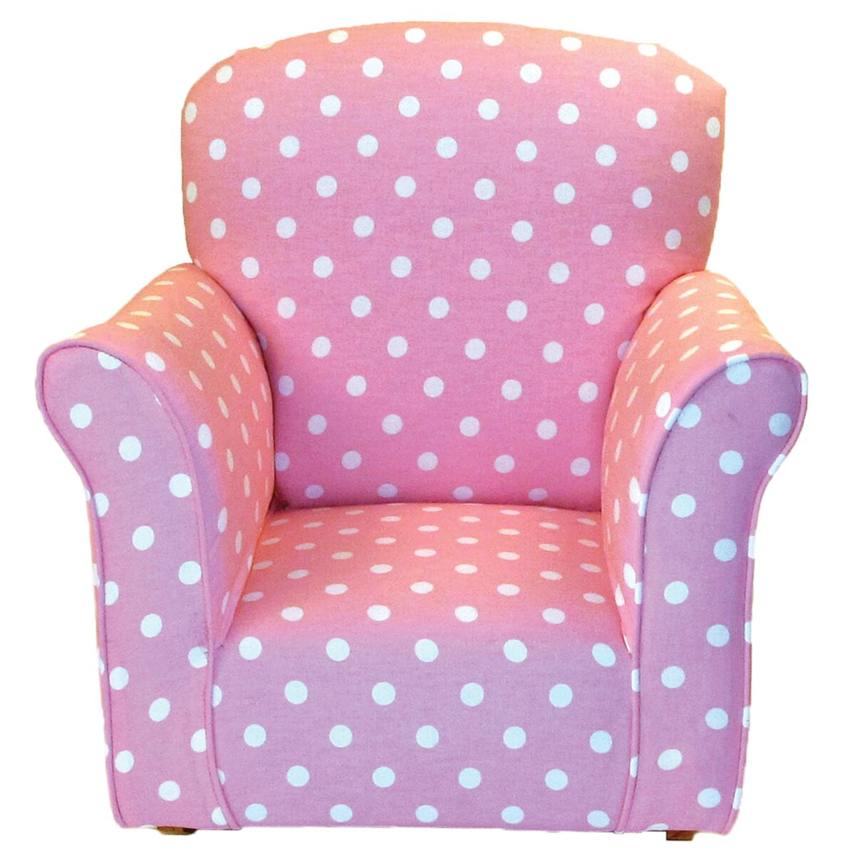 Brighton Home Furniture Toddler Rocker in Baby Pink with White Polka Dot Printed Cotton