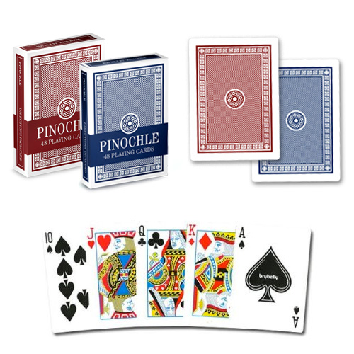 One Blue Deck and One Red Deck of Pinochle Playing Cards