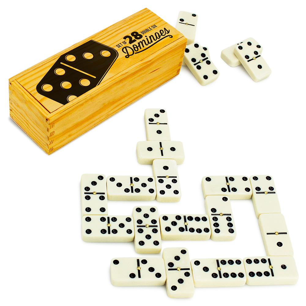 Set of 28 Double Six Dominoes with Brass Spinners