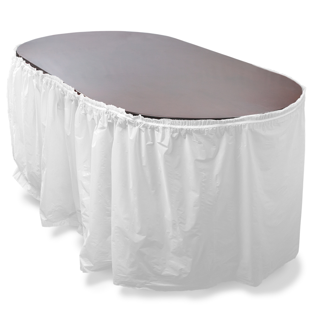 14' White Reusable Plastic Table Skirt, Extends 20'+