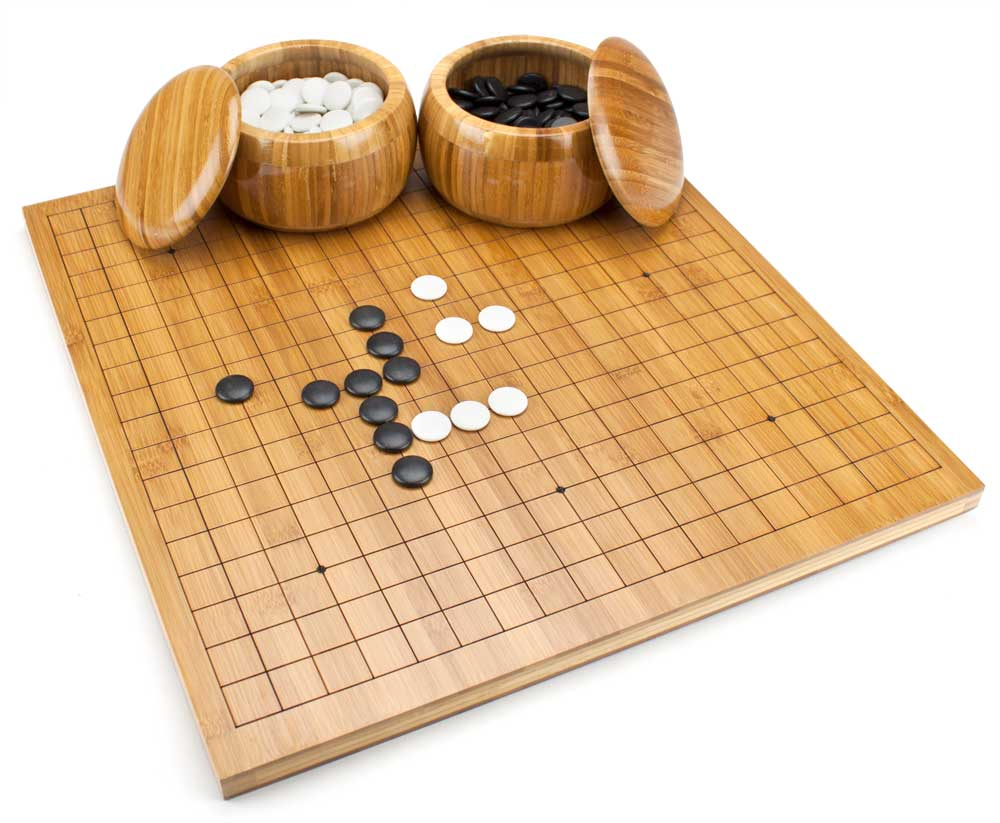 Reversible Bamboo Go/Xiangqi Set with Board, Bowls, Stones