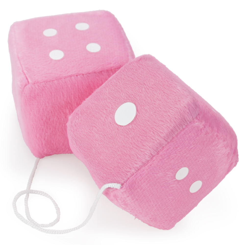 Pair of Pink 3in Hanging Fuzzy Dice