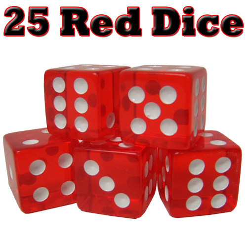 25 Red Dice - 16 mm