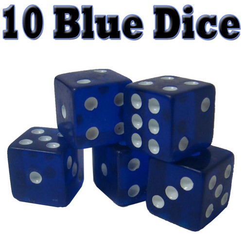 10 Blue Dice - 16 mm