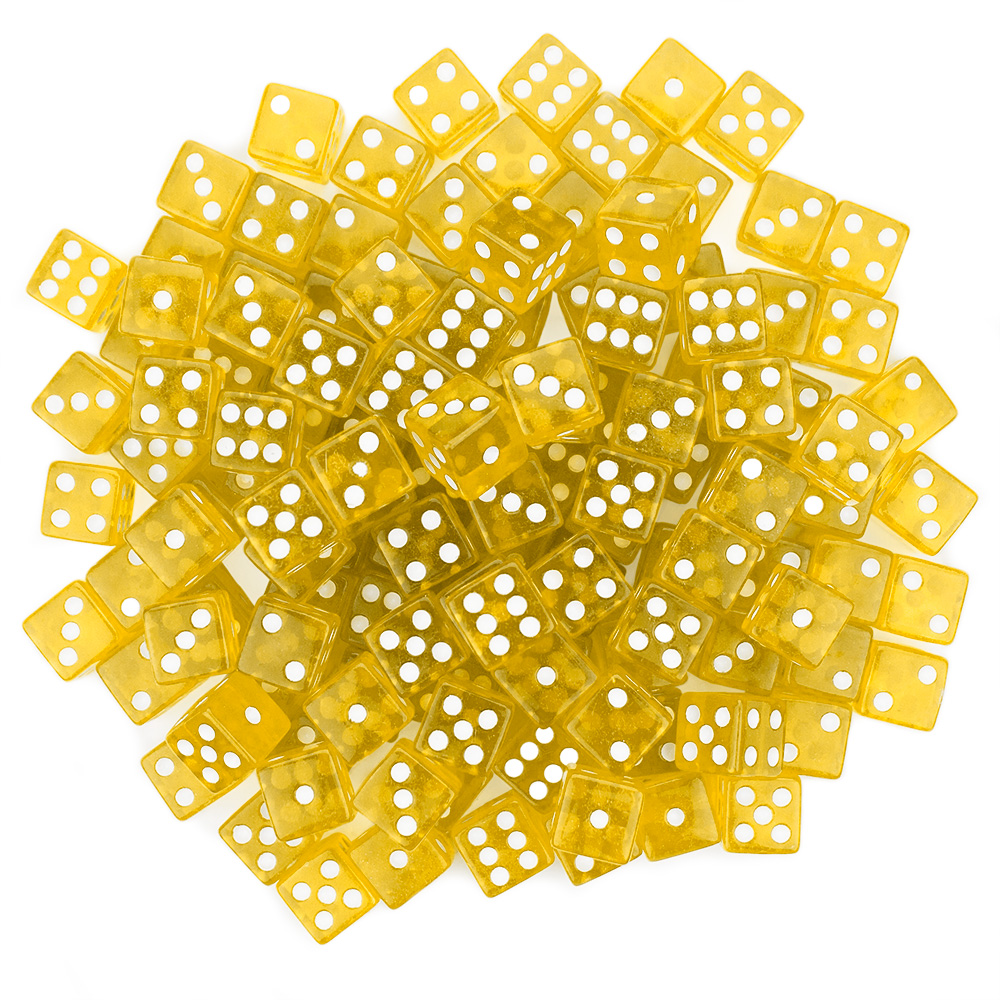 100 Yellow Dice - 16 mm