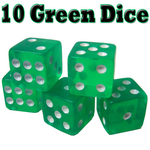 10 Green Dice - 16 mm