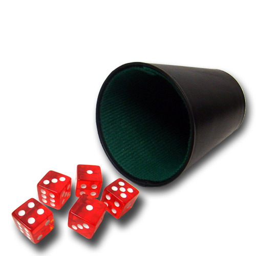 5 Red 19mm Dice with Plastic Cup