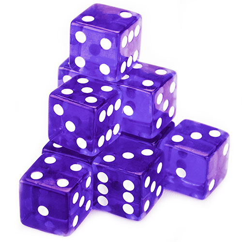 10 Purple Dice - 19 mm