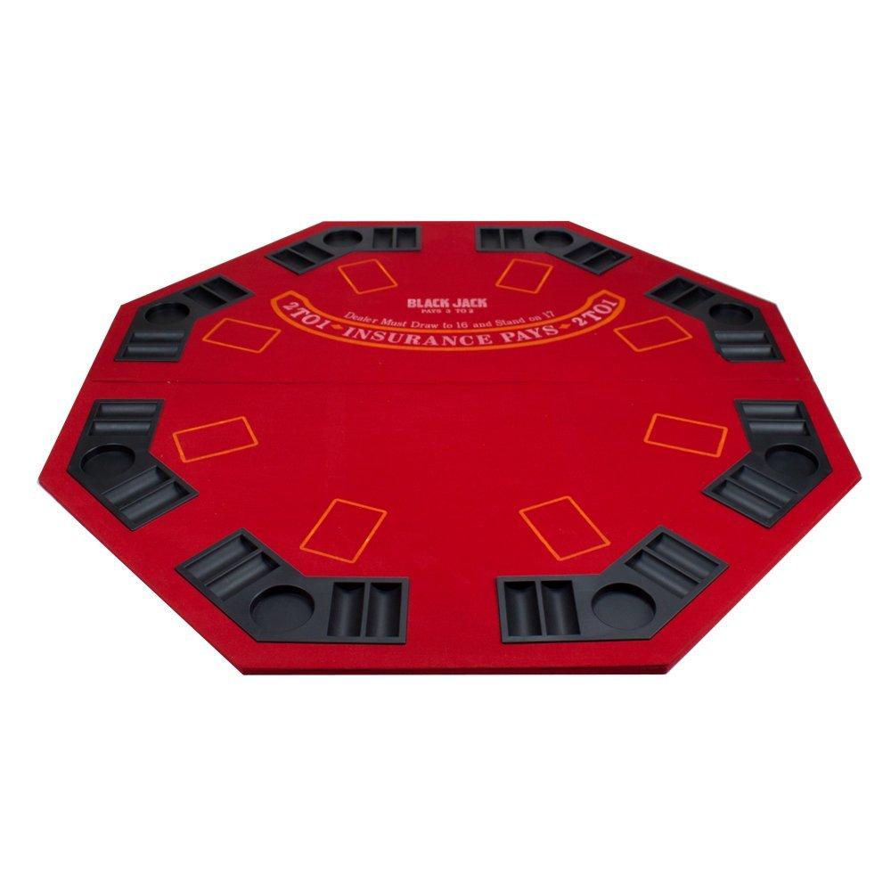 2 in 1 Red Folding Poker & Blackjack Table Top w/ Case