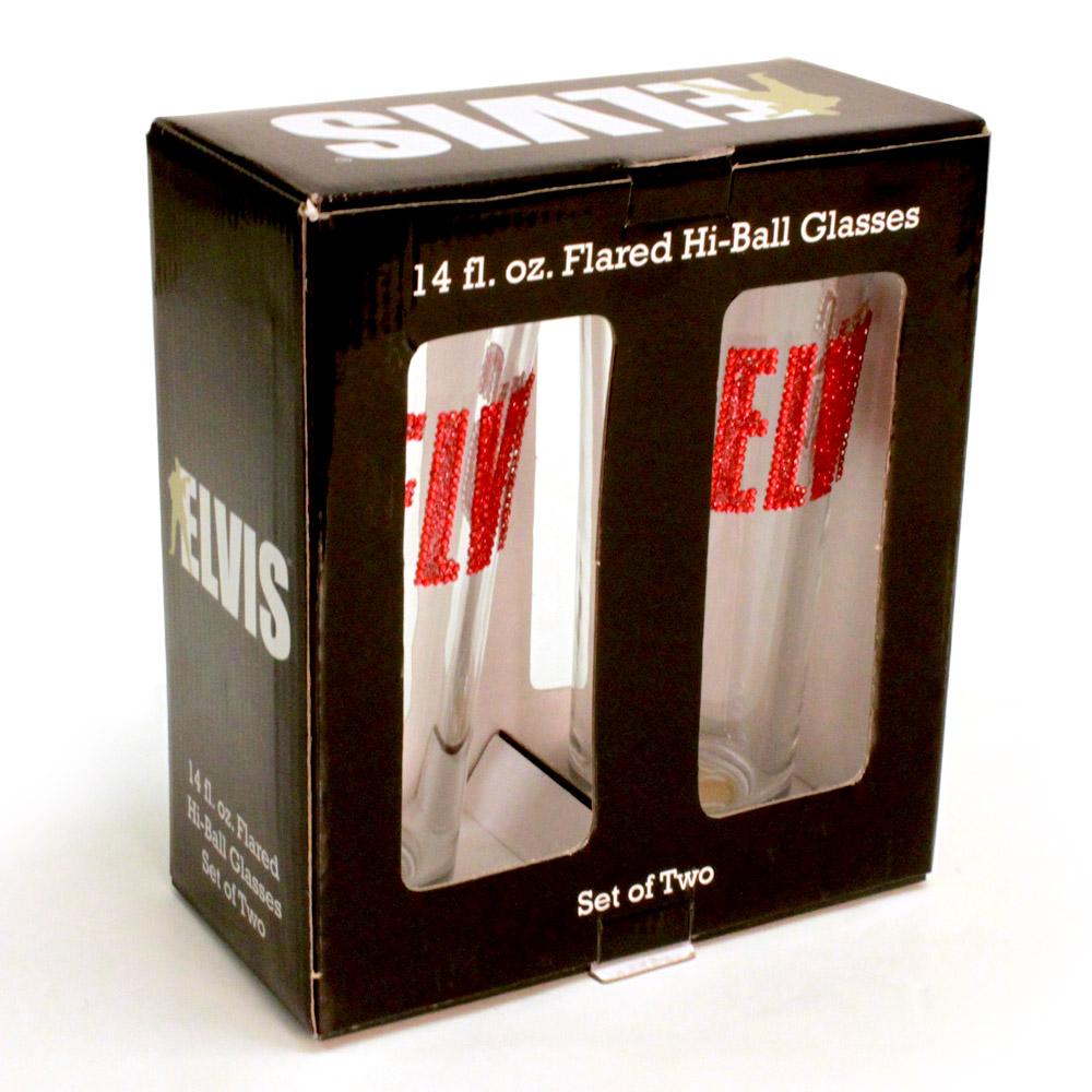 Elvis Rhinestone Flared Hi-Ball Set of 2 - 14 oz Glasses