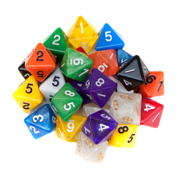 25 Pack of Random D8 Polyhedral Dice in Multiple Colors