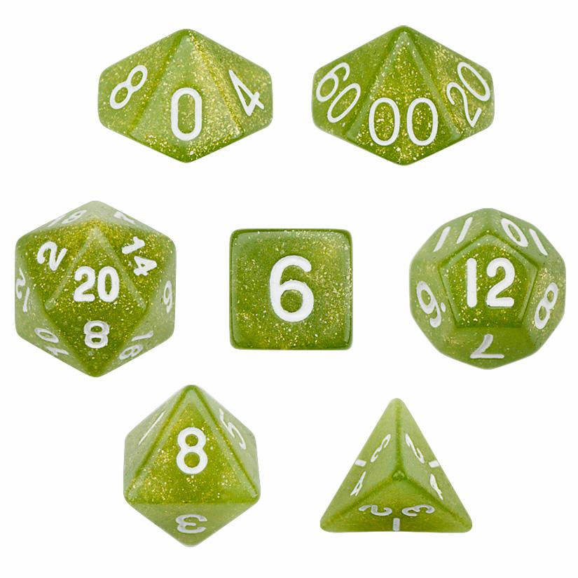 7 Die Polyhedral Dice Set in Velvet Pouch - Serpent