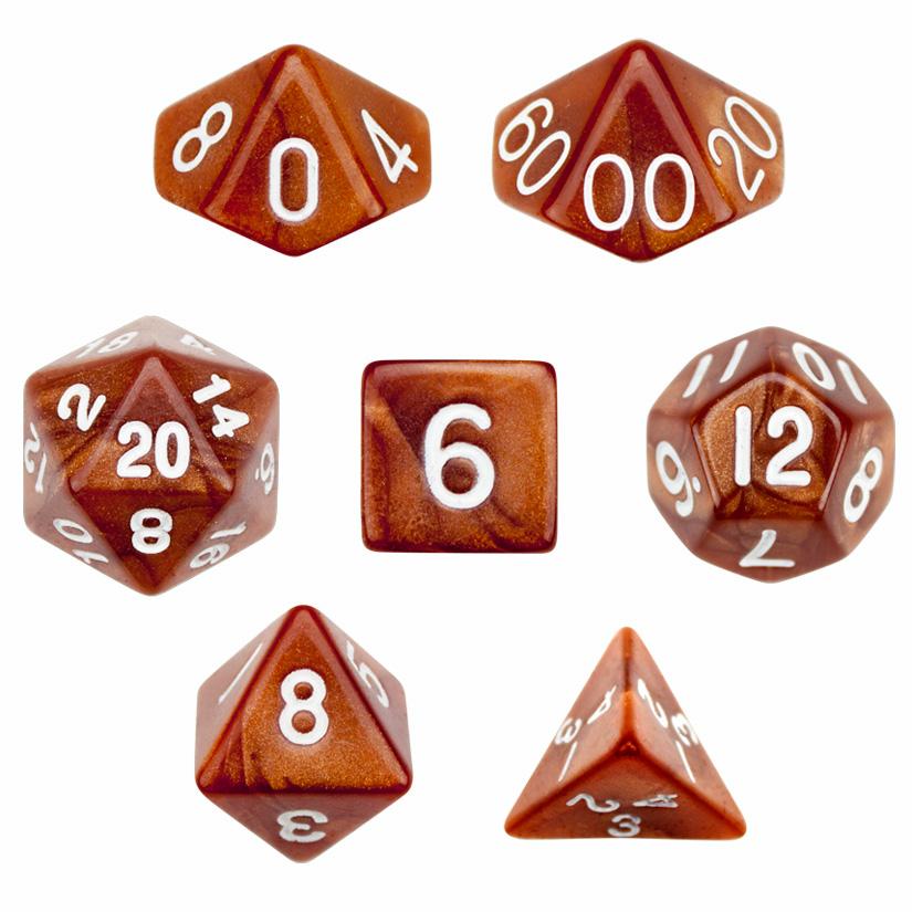 7 Die Polyhedral Dice Set in Velvet Pouch - Copper Sands