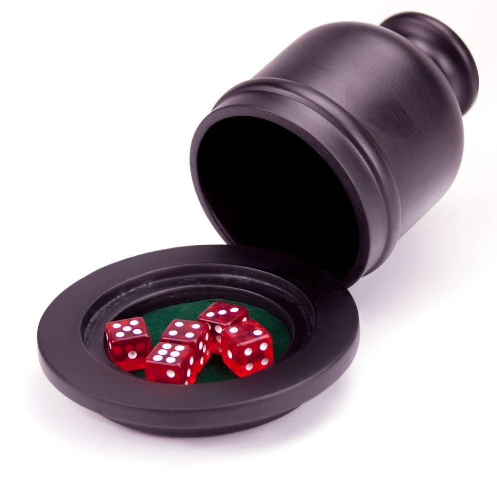 Deluxe Wooden Dice Cup Shaker w/ Felt Lined Tray and 5 dice