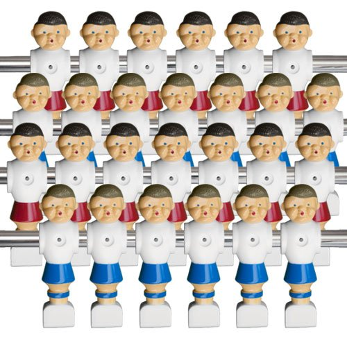 26 Old-Style Foosball Men with Hardware - Red and Blue
