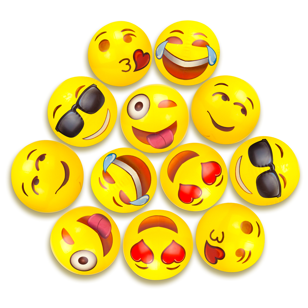 "12"" Emoji Beach Balls, Pack of 12"