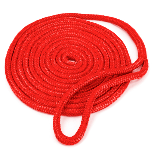 15' Double-Braided Nylon Dockline, Red
