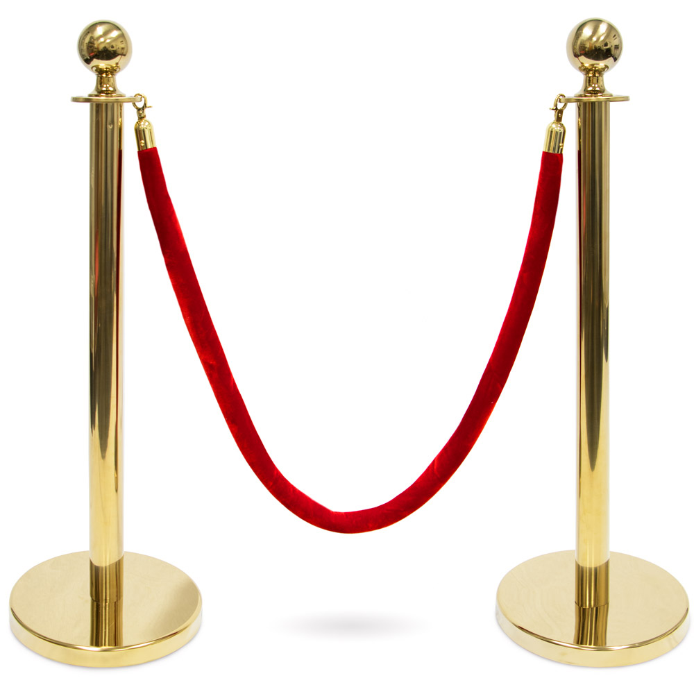3-foot  Ball Top Stanchions with 4.5-foot Red Velvet Rope, G