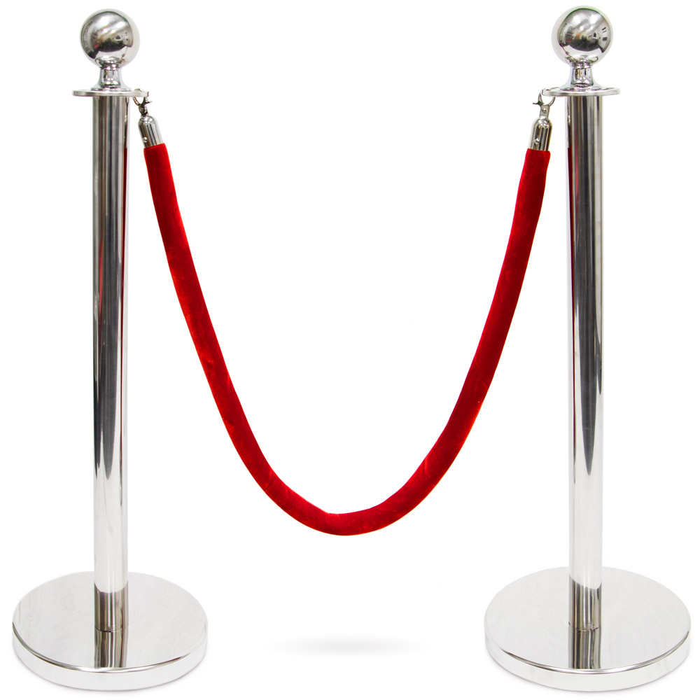 3-foot  Ball Top Stanchions with 4.5-foot Red Velvet Rope, S