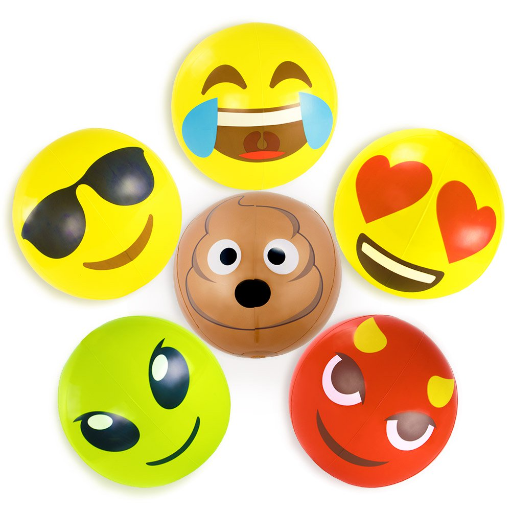 18'' Emoji Beach Bums, 6-pack