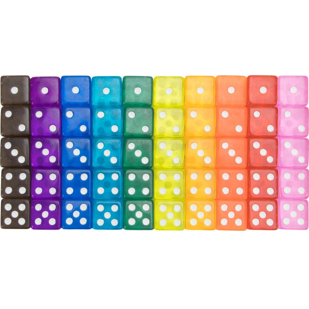 Vintage Translucent Dice, 50-pack