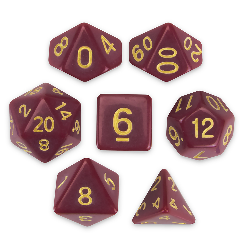 Set of 7 Polyhedral Dice, Crimson Queen