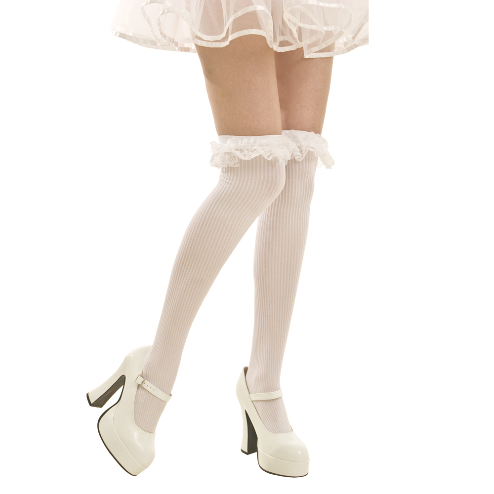 White Ruffle Thigh-High Costume Tights
