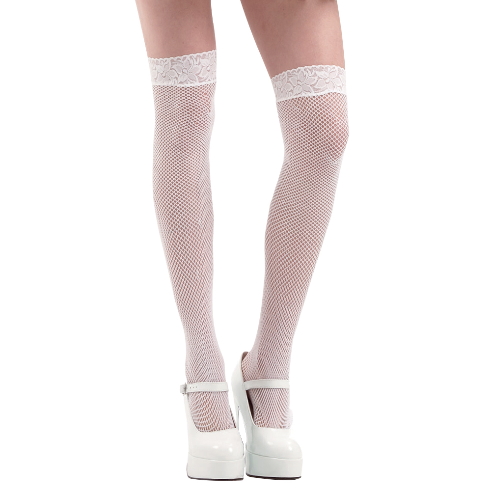 White Fishnet Thigh High Costume Tights