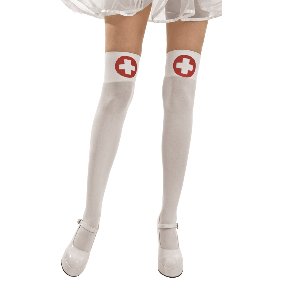 White Nurse Thigh High Costume Tights
