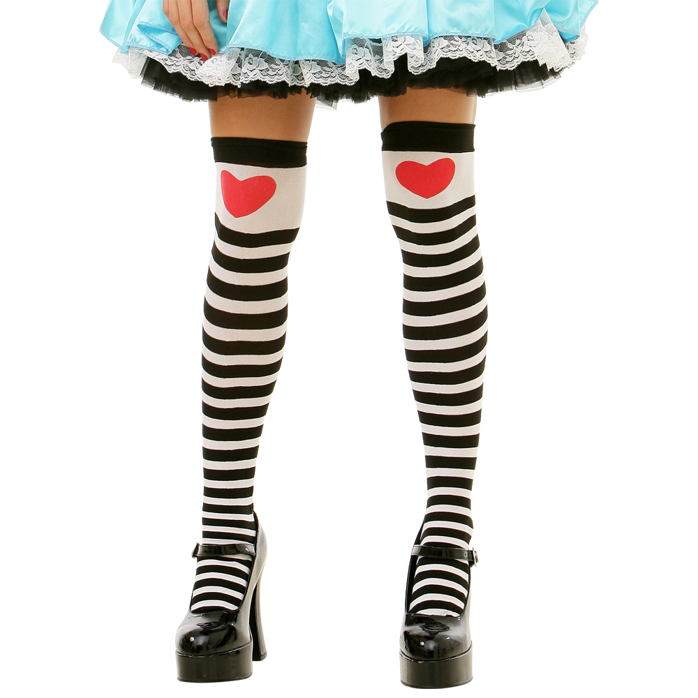Striped Heart Thigh High Costume Tights