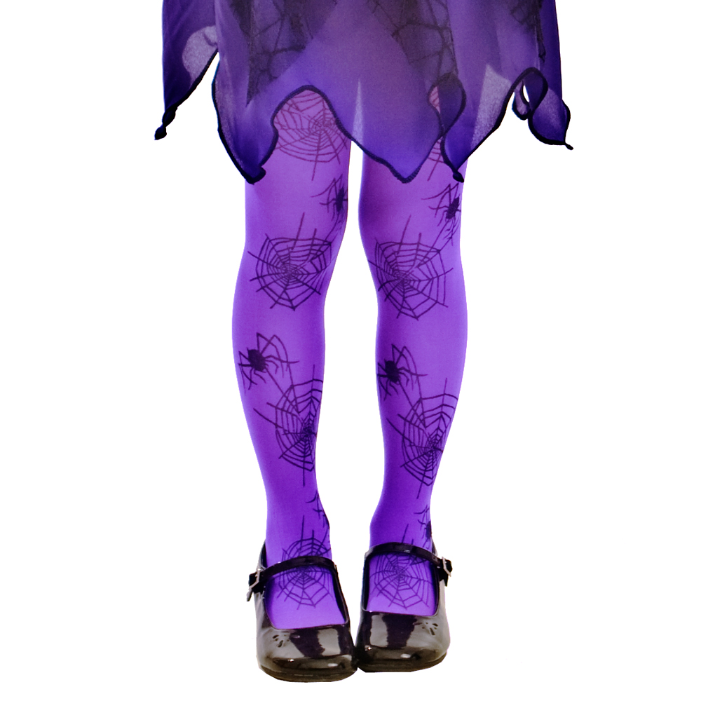 Purple Spiderweb Costume Tights, L