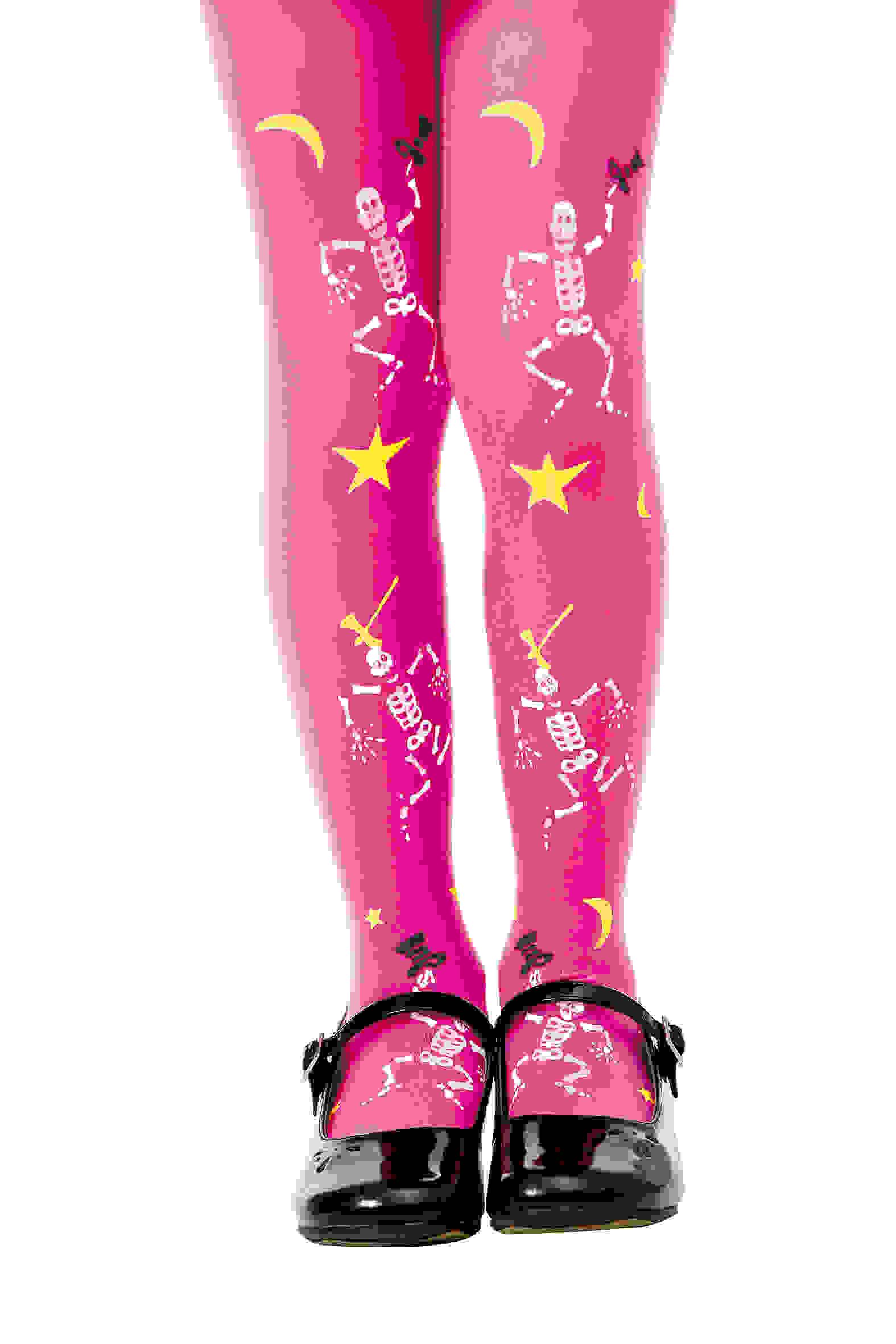 Pink Skeleton Costume Tights, L