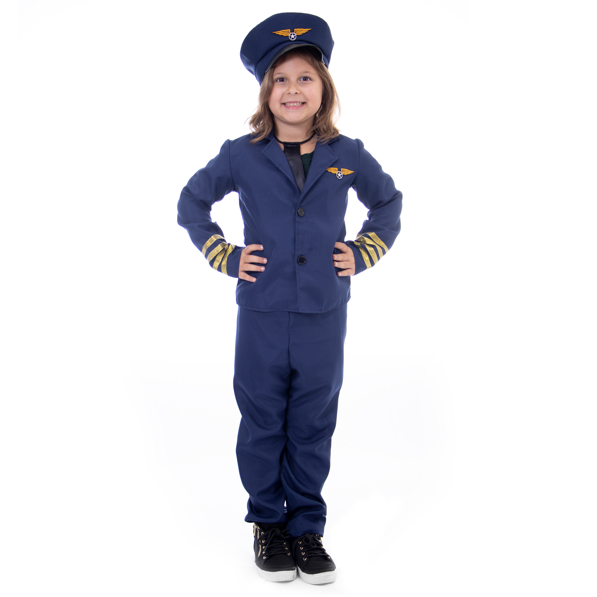 Airline Pilot Halloween Costume - Kids Unisex, Large