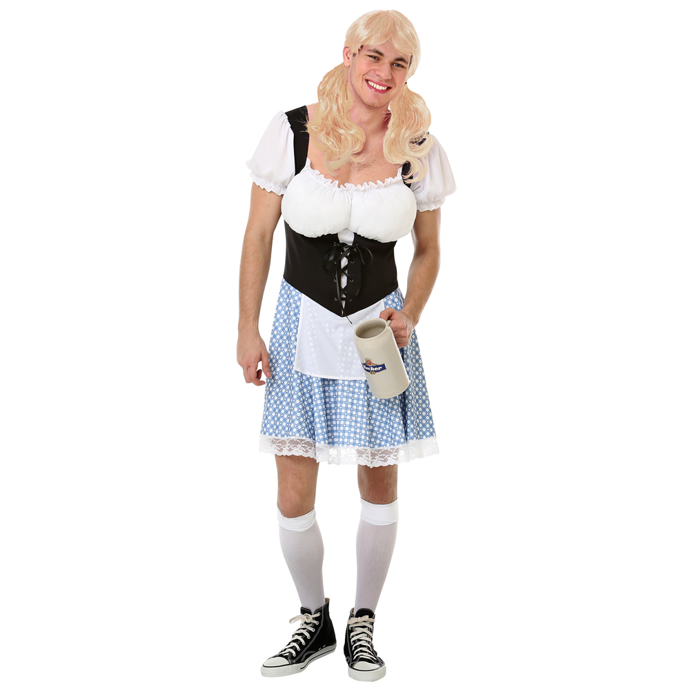 Men's Busty Bavarian Halloween Costume, X-Large