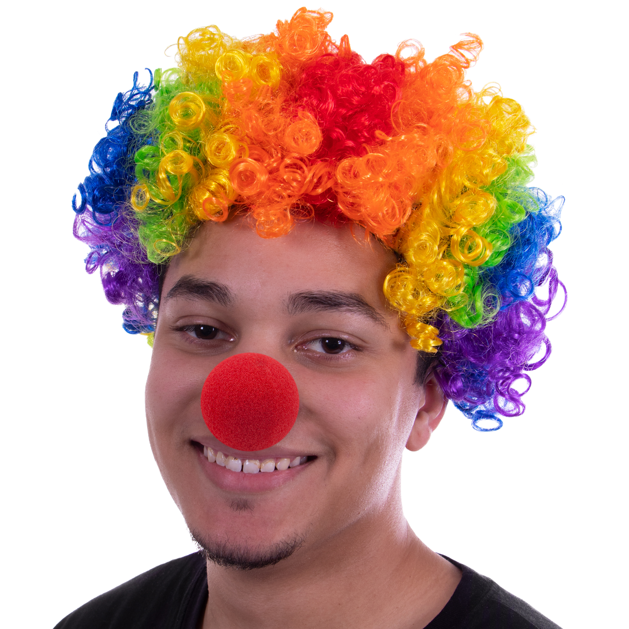 Clown Nose and Rainbow Wig Set