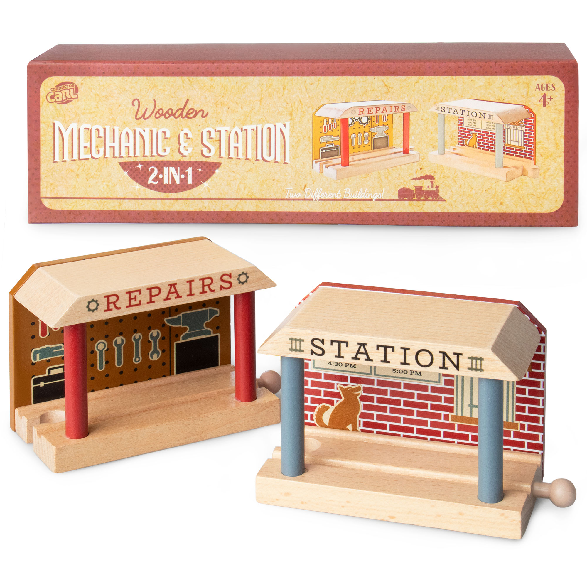 Wooden Train Mechanic and Station