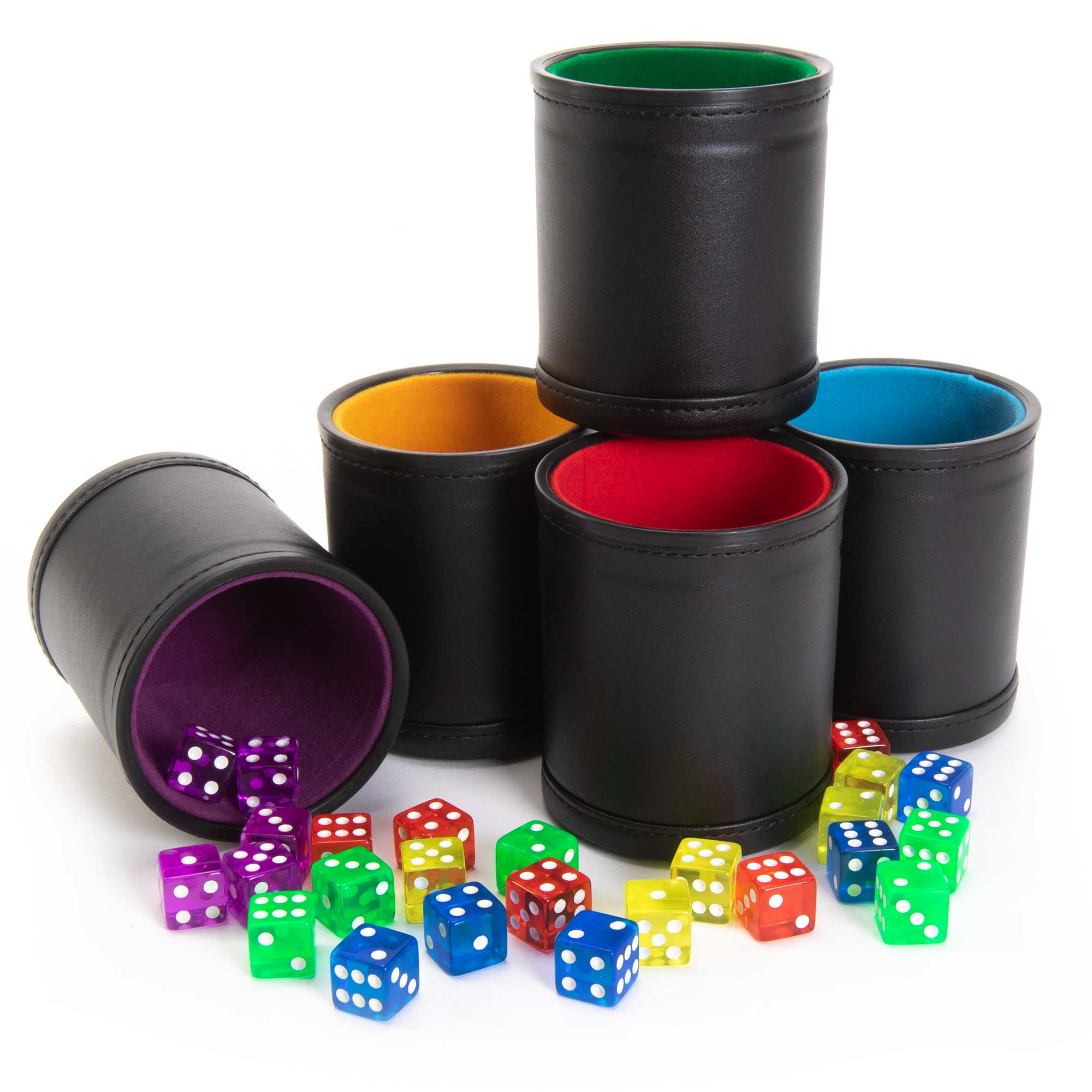 Professional Dice Cups Game Night Pack, Assorted Colors 5-pk