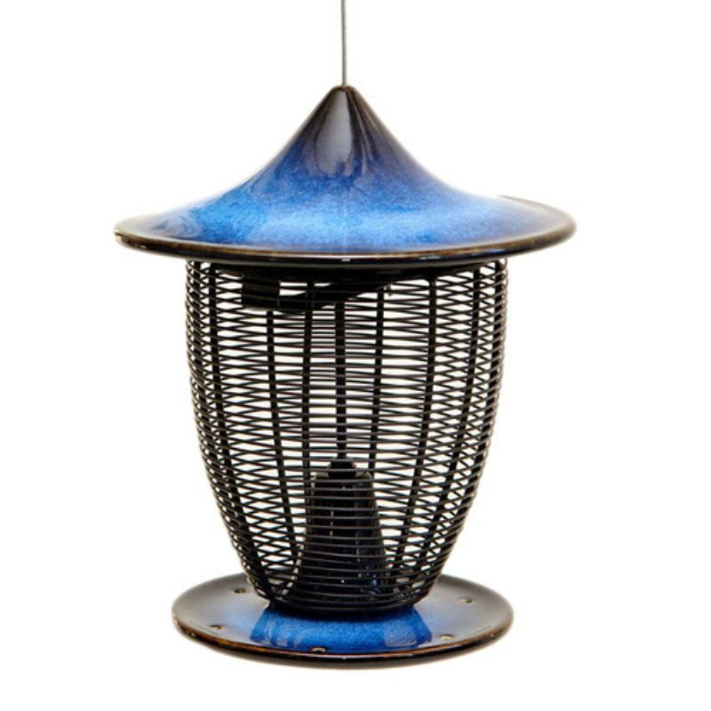 Pagoda Bird Feeder Cobalt Blue