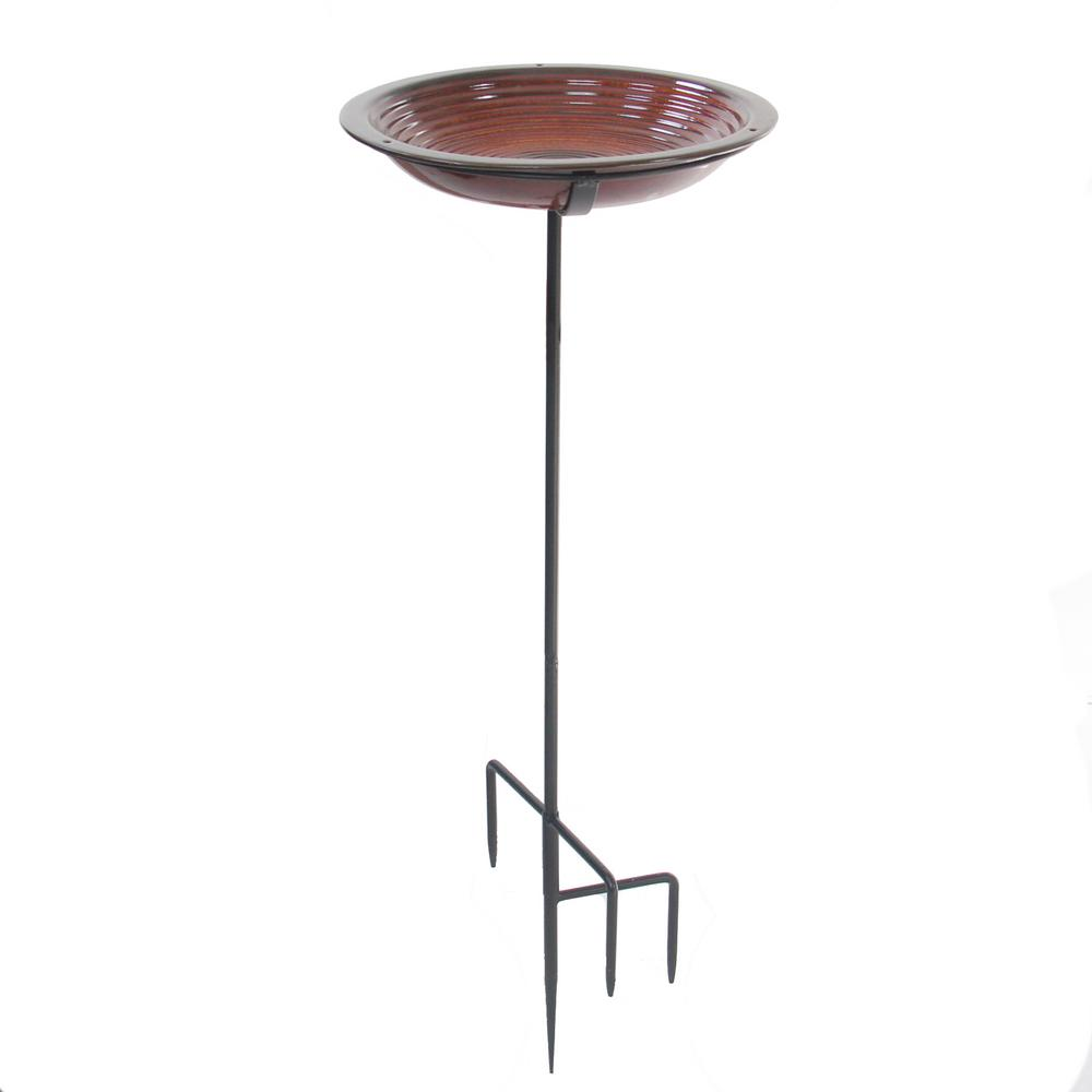Circle Bird Bath Staked Rustic Red