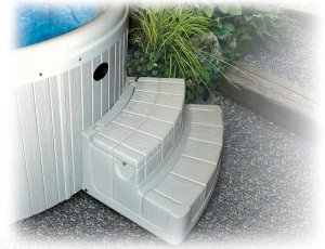 Spa Steps,BYRON,Step-n-Stow,Embrace,Round Spas,Gulf Gray     DROP SHIP ONLY